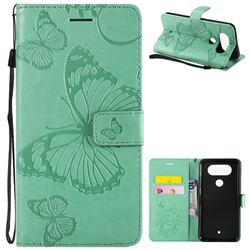 Embossing 3D Butterfly Leather Wallet Case for LG Q8(2017, 5.2 inch) - Green