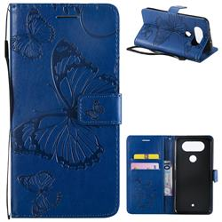 Embossing 3D Butterfly Leather Wallet Case for LG Q8(2017, 5.2 inch) - Blue