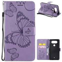 Embossing 3D Butterfly Leather Wallet Case for LG Q8(2017, 5.2 inch) - Purple