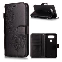 Intricate Embossing Dandelion Butterfly Leather Wallet Case for LG Q8(2017, 5.2 inch) - Black