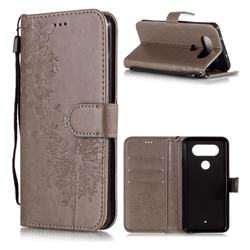 Intricate Embossing Dandelion Butterfly Leather Wallet Case for LG Q8(2017, 5.2 inch) - Gray