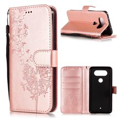 Intricate Embossing Dandelion Butterfly Leather Wallet Case for LG Q8(2017, 5.2 inch) - Rose Gold