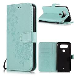 Intricate Embossing Dandelion Butterfly Leather Wallet Case for LG Q8(2017, 5.2 inch) - Green