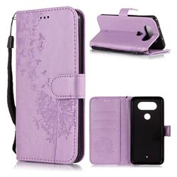 Intricate Embossing Dandelion Butterfly Leather Wallet Case for LG Q8(2017, 5.2 inch) - Purple