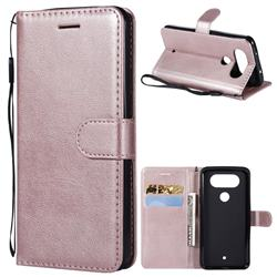 Retro Greek Classic Smooth PU Leather Wallet Phone Case for LG Q8(2017, 5.2 inch) - Rose Gold