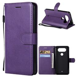 Retro Greek Classic Smooth PU Leather Wallet Phone Case for LG Q8(2017, 5.2 inch) - Purple