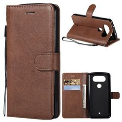 Retro Greek Classic Smooth PU Leather Wallet Phone Case for LG Q8(2017, 5.2 inch) - Brown