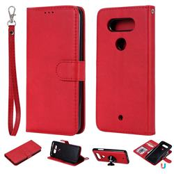 Retro Greek Detachable Magnetic PU Leather Wallet Phone Case for LG Q8(2017, 5.2 inch) - Red