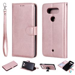 Retro Greek Detachable Magnetic PU Leather Wallet Phone Case for LG Q8(2017, 5.2 inch) - Rose Gold