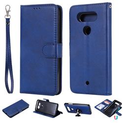 Retro Greek Detachable Magnetic PU Leather Wallet Phone Case for LG Q8(2017, 5.2 inch) - Blue