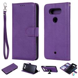 Retro Greek Detachable Magnetic PU Leather Wallet Phone Case for LG Q8(2017, 5.2 inch) - Purple