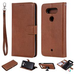 Retro Greek Detachable Magnetic PU Leather Wallet Phone Case for LG Q8(2017, 5.2 inch) - Brown