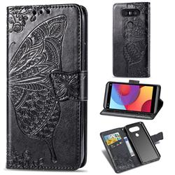 Embossing Mandala Flower Butterfly Leather Wallet Case for LG Q8(2017, 5.2 inch) - Black