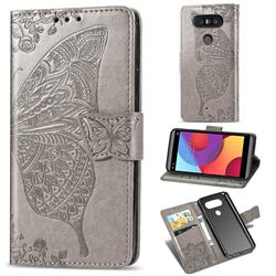 Embossing Mandala Flower Butterfly Leather Wallet Case for LG Q8(2017, 5.2 inch) - Gray