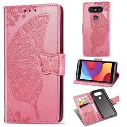 Embossing Mandala Flower Butterfly Leather Wallet Case for LG Q8(2017, 5.2 inch) - Pink