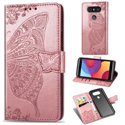 Embossing Mandala Flower Butterfly Leather Wallet Case for LG Q8(2017, 5.2 inch) - Rose Gold