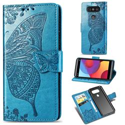 Embossing Mandala Flower Butterfly Leather Wallet Case for LG Q8(2017, 5.2 inch) - Blue