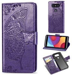 Embossing Mandala Flower Butterfly Leather Wallet Case for LG Q8(2017, 5.2 inch) - Dark Purple