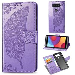 Embossing Mandala Flower Butterfly Leather Wallet Case for LG Q8(2017, 5.2 inch) - Light Purple