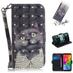 Cat Embrace 3D Painted Leather Wallet Phone Case for LG Q8(2018, 6.2 inch)