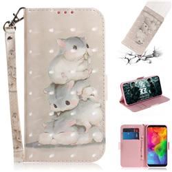 Three Squirrels 3D Painted Leather Wallet Phone Case for LG Q8(2018, 6.2 inch)