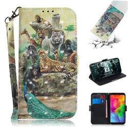 Beast Zoo 3D Painted Leather Wallet Phone Case for LG Q8(2018, 6.2 inch)