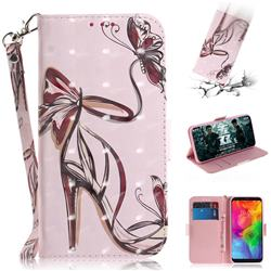 Butterfly High Heels 3D Painted Leather Wallet Phone Case for LG Q8(2018, 6.2 inch)