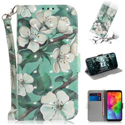 Watercolor Flower 3D Painted Leather Wallet Phone Case for LG Q8(2018, 6.2 inch)