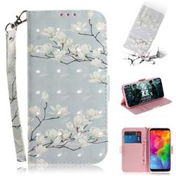 Magnolia Flower 3D Painted Leather Wallet Phone Case for LG Q8(2018, 6.2 inch)