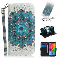 Peacock Mandala 3D Painted Leather Wallet Phone Case for LG Q8(2018, 6.2 inch)