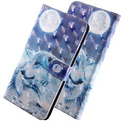 Moon Wolf 3D Painted Leather Wallet Case for LG Q8(2018, 6.2 inch)