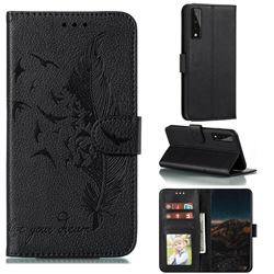 Intricate Embossing Lychee Feather Bird Leather Wallet Case for LG Stylo 7 5G - Black