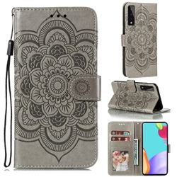 Intricate Embossing Datura Solar Leather Wallet Case for LG Stylo 7 5G - Gray