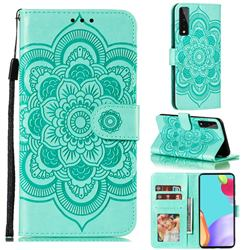 Intricate Embossing Datura Solar Leather Wallet Case for LG Stylo 7 5G - Green