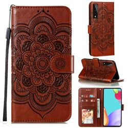 Intricate Embossing Datura Solar Leather Wallet Case for LG Stylo 7 5G - Brown