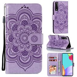 Intricate Embossing Datura Solar Leather Wallet Case for LG Stylo 7 5G - Purple