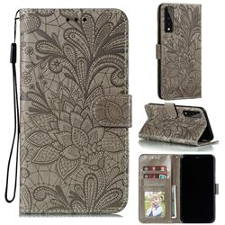 Intricate Embossing Lace Jasmine Flower Leather Wallet Case for LG Stylo 7 5G - Gray