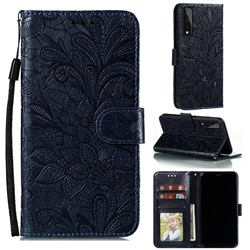 Intricate Embossing Lace Jasmine Flower Leather Wallet Case for LG Stylo 7 5G - Dark Blue