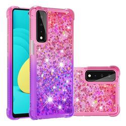 Rainbow Gradient Liquid Glitter Quicksand Sequins Phone Case for LG Stylo 7 5G - Pink Purple