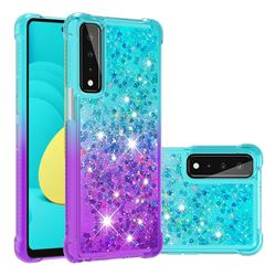 Rainbow Gradient Liquid Glitter Quicksand Sequins Phone Case for LG Stylo 7 5G - Blue Purple