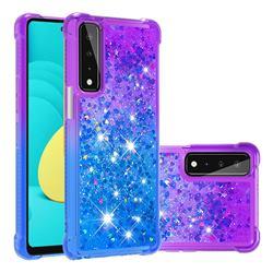 Rainbow Gradient Liquid Glitter Quicksand Sequins Phone Case for LG Stylo 7 5G - Purple Blue