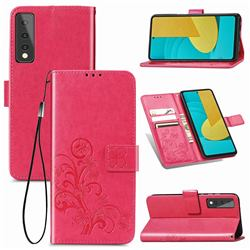 Embossing Imprint Four-Leaf Clover Leather Wallet Case for LG Stylo 7 5G - Rose Red