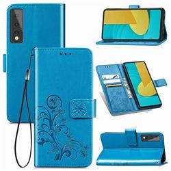 Embossing Imprint Four-Leaf Clover Leather Wallet Case for LG Stylo 7 5G - Blue