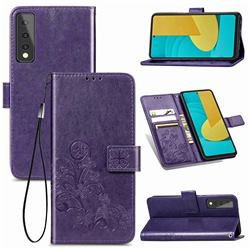 Embossing Imprint Four-Leaf Clover Leather Wallet Case for LG Stylo 7 5G - Purple