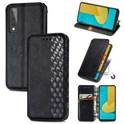 Ultra Slim Fashion Business Card Magnetic Automatic Suction Leather Flip Cover for LG Stylo 7 5G - Black