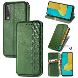Ultra Slim Fashion Business Card Magnetic Automatic Suction Leather Flip Cover for LG Stylo 7 5G - Green