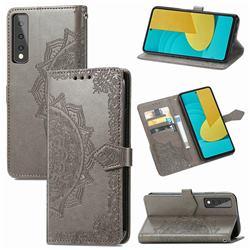 Embossing Imprint Mandala Flower Leather Wallet Case for LG Stylo 7 5G - Gray