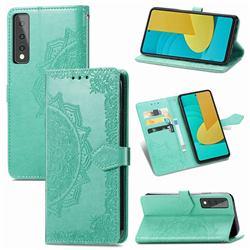 Embossing Imprint Mandala Flower Leather Wallet Case for LG Stylo 7 5G - Green