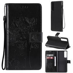 Embossing Butterfly Tree Leather Wallet Case for LG Stylo 7 5G - Black