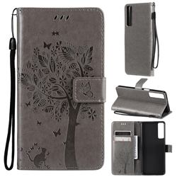 Embossing Butterfly Tree Leather Wallet Case for LG Stylo 7 5G - Grey